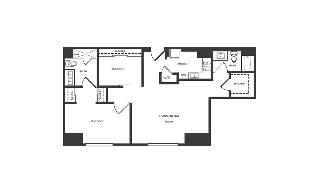 OO 2 Bedroom 2 Bathroom Floorplan