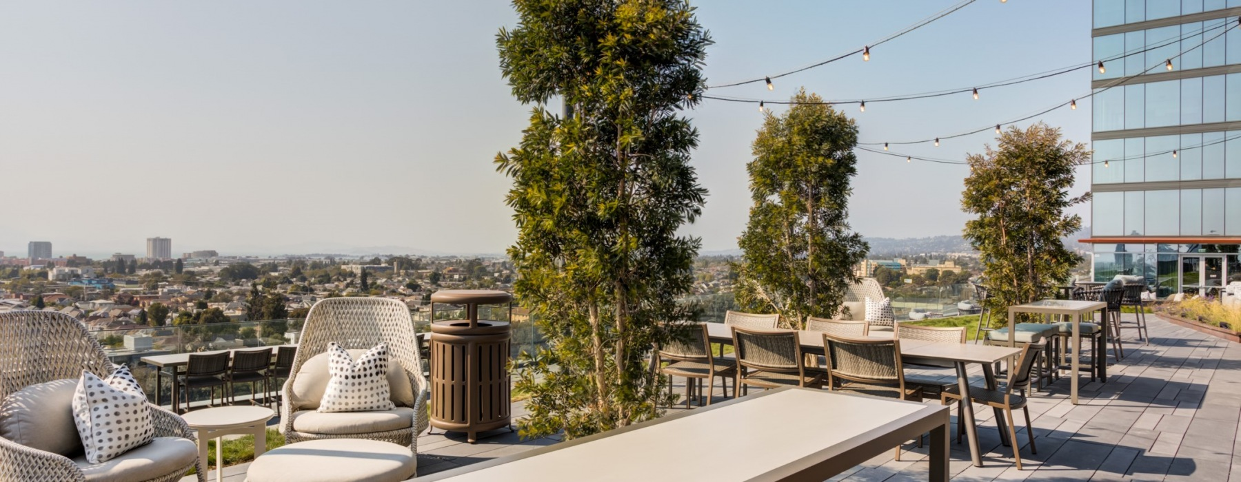 Seating areas overlooking the bay area
