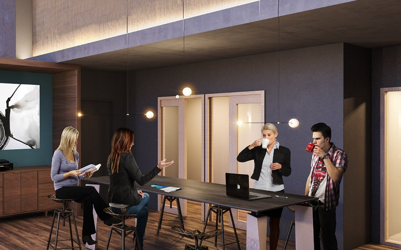 well lit co-working spaces with wifi lounge